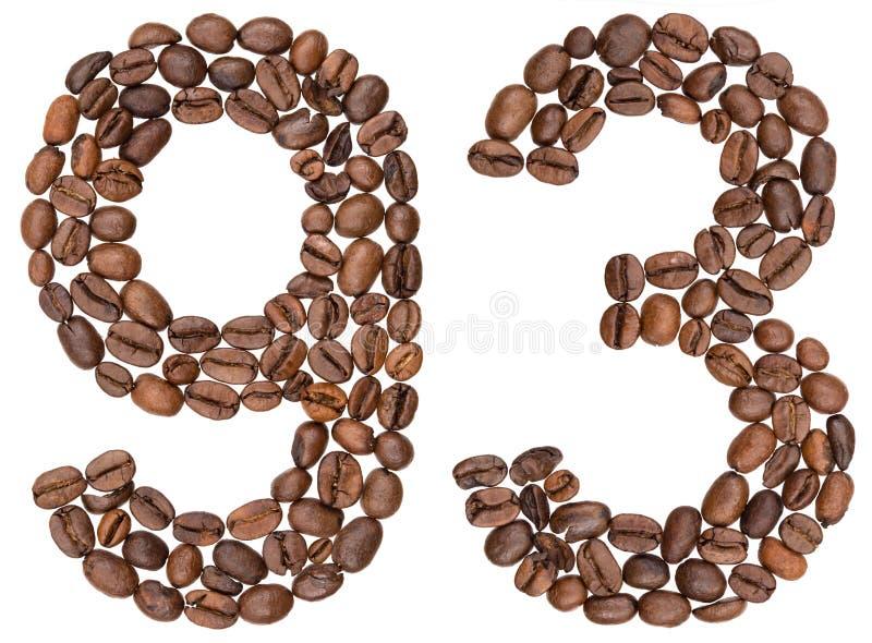 Arabski liczebnik 93, dziewięćdziesiąt trzy, od kawowych fasoli, odizolowywać dalej zdjęcia stock