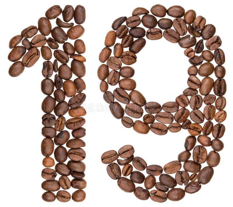 Arabski liczebnik 19, dziewiętnaście, od kawowych fasoli, odizolowywać na whit zdjęcia stock