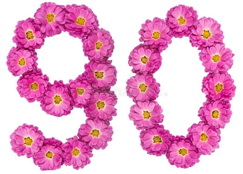 Arabski liczebnik 90, dziewiećdziesiąt, od kwiatów chryzantema, isolat fotografia stock