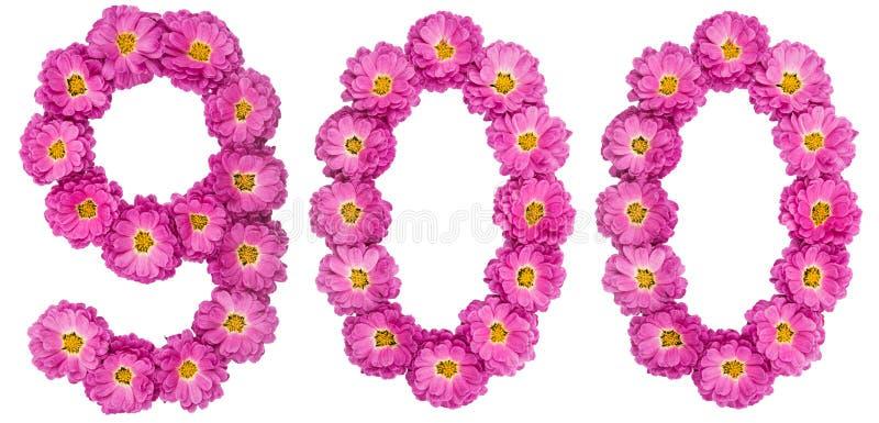 Arabski liczebnik 900, dziewiećset, od kwiatów chryzantema, fotografia royalty free