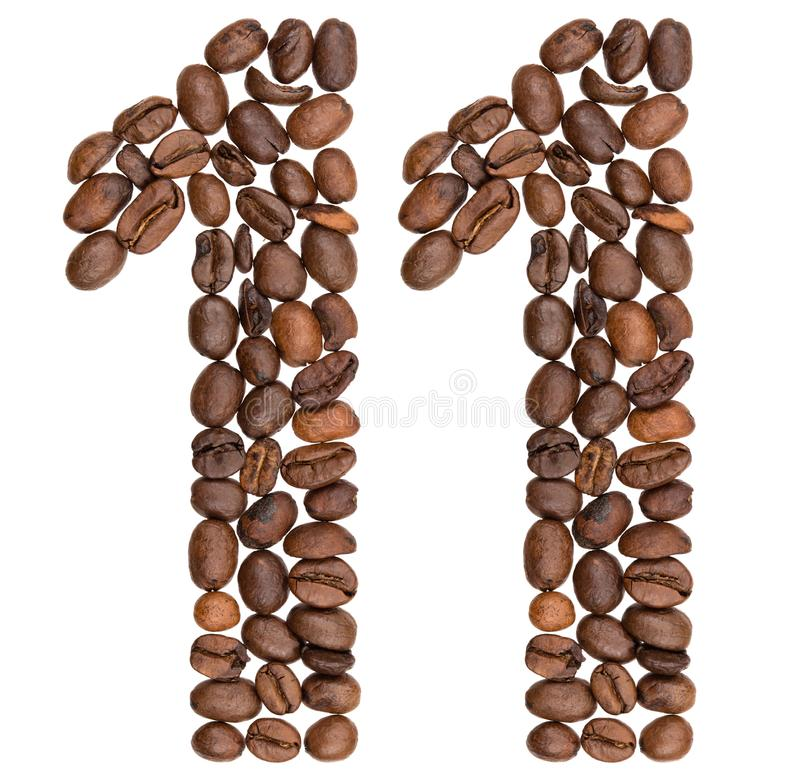 Arabski liczebnik 11, jedenaście, od kawowych fasoli, odizolowywać na bielu fotografia royalty free