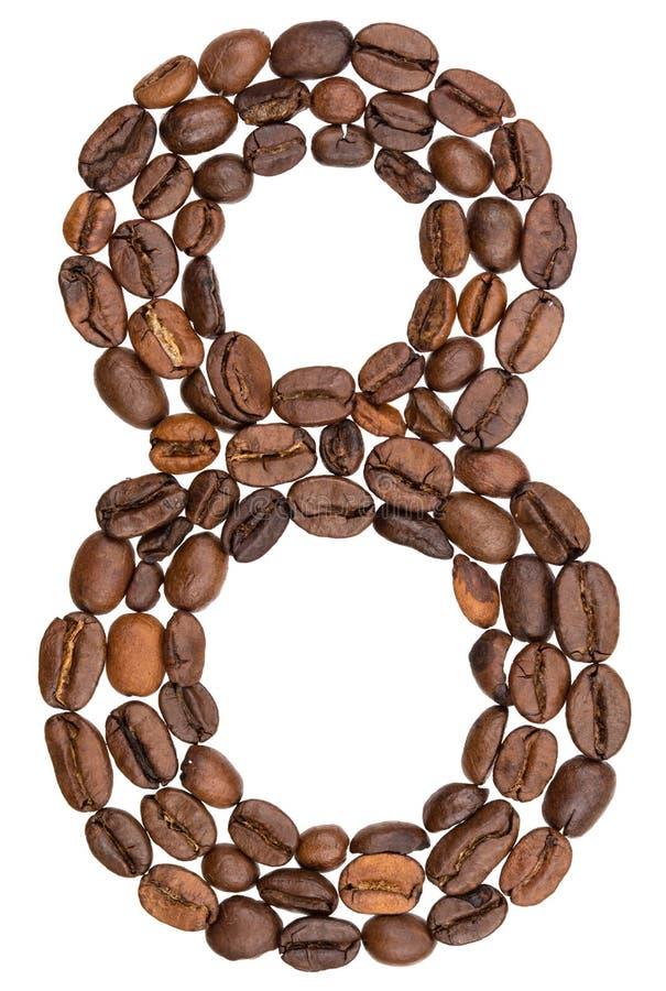 Arabski liczebnik 8, osiem, od kawowych fasoli, odizolowywać na białych półdupkach zdjęcie stock