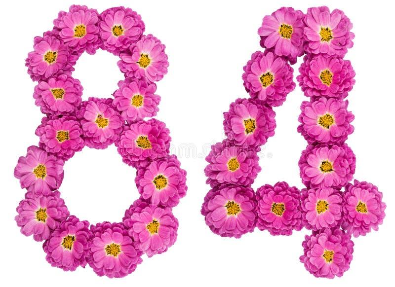 Arabski liczebnik 84, osiemdziesiąt cztery, od kwiatów chryzantema, i zdjęcia stock