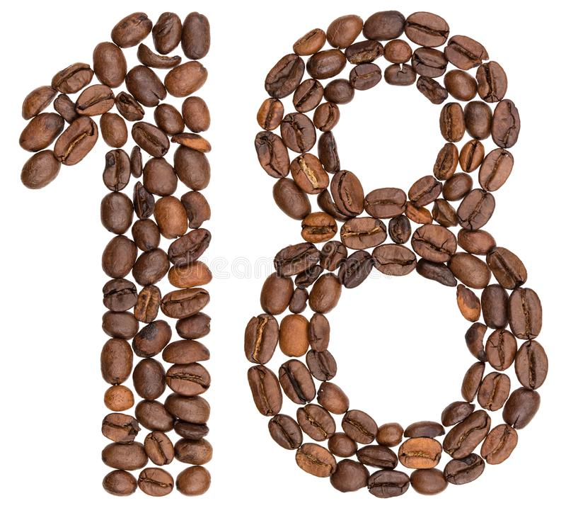 Arabski liczebnik 18, osiemnaście, od kawowych fasoli, odizolowywać na whit zdjęcia stock