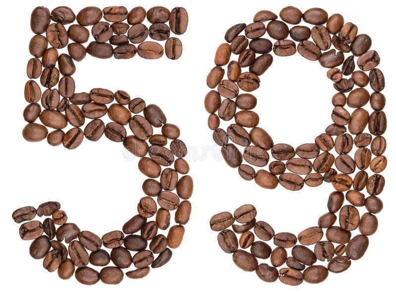 Arabski liczebnik 59, pięćdziesiąt dziesięć, od kawowych fasoli, odizolowywać na wh obraz royalty free
