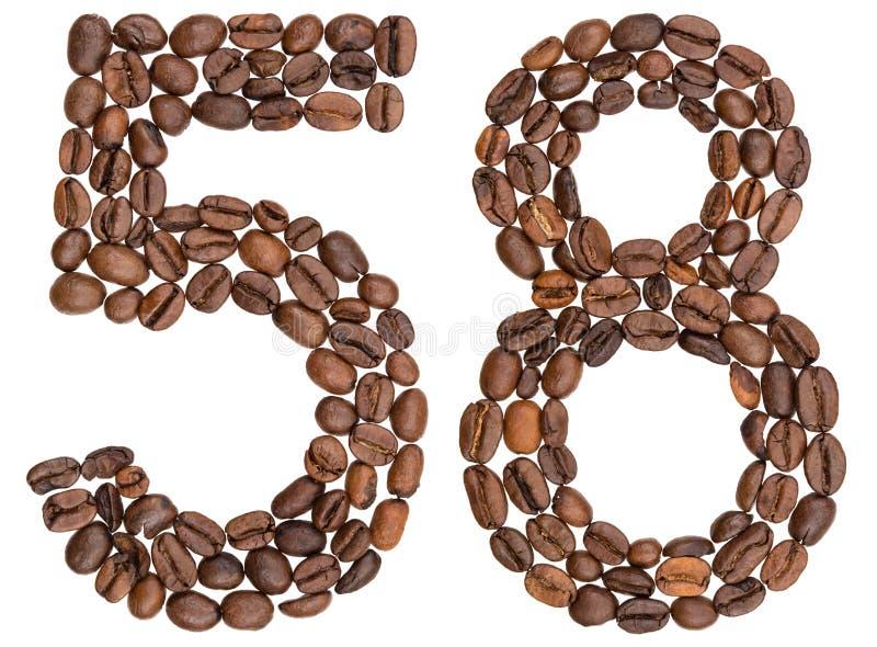 Arabski liczebnik 58, pięćdziesiąt osiem, od kawowych fasoli, odizolowywać na w obrazy royalty free