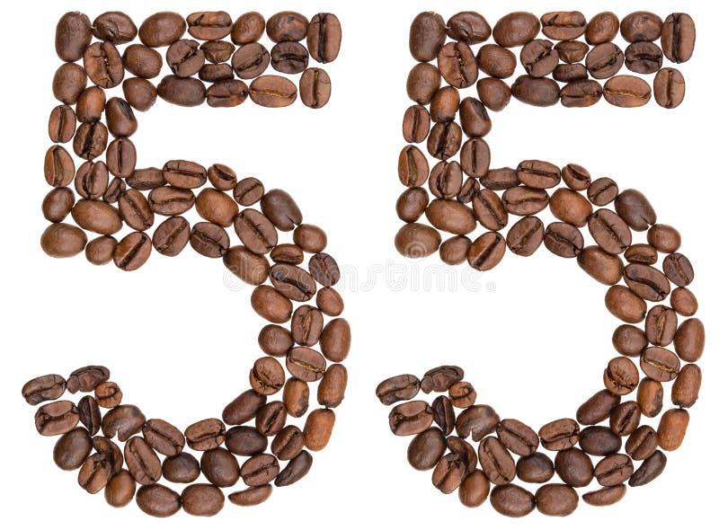 Arabski liczebnik 55, pięćdziesiąt pięć, od kawowych fasoli, odizolowywać na wh obraz royalty free