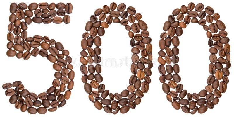Arabski liczebnik 500, pięćset, od kawowych fasoli, odizolowywać dalej zdjęcie stock