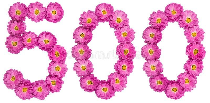 Arabski liczebnik 500, pięćset, od kwiatów chryzantema, zdjęcie stock