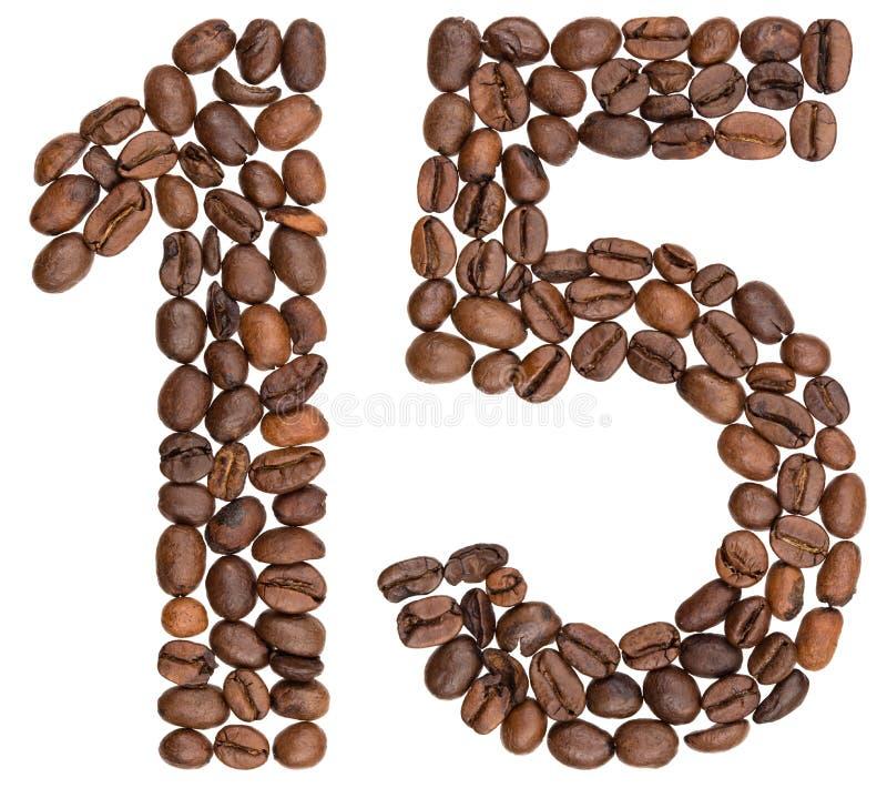 Arabski liczebnik 15, piętnaście, od kawowych fasoli, odizolowywać na bielu zdjęcie stock
