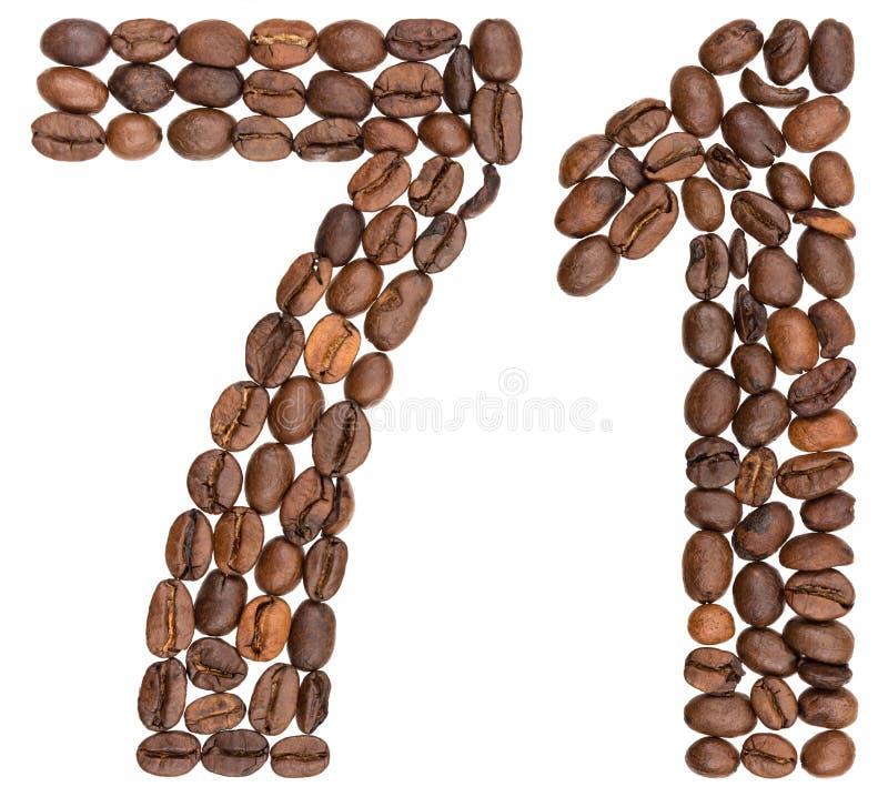 Arabski liczebnik 71, siedemdziesiąt jeden, od kawowych fasoli, odizolowywać na w zdjęcie stock