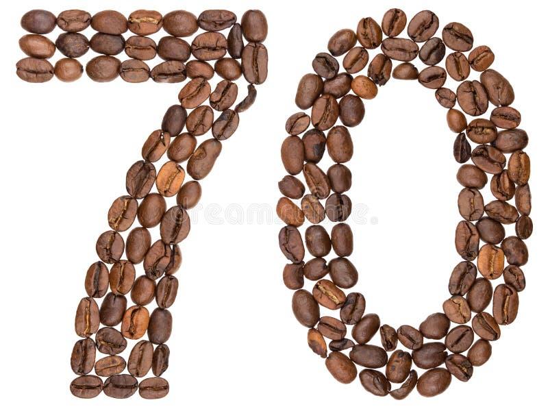 Arabski liczebnik 70, siedemdziesiąt, od kawowych fasoli, odizolowywać na bielu zdjęcie royalty free
