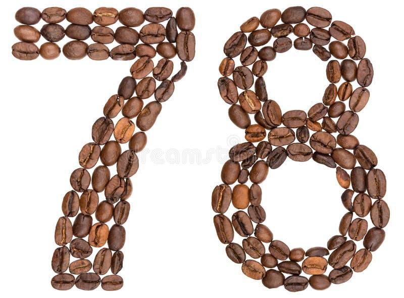 Arabski liczebnik 78, siedemdziesiąt osiem, od kawowych fasoli, odizolowywać dalej obrazy stock