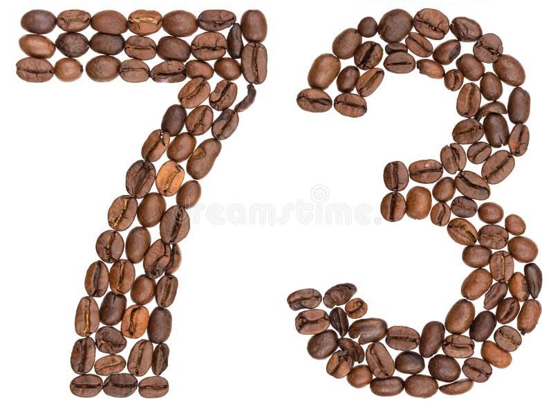 Arabski liczebnik 73, siedemdziesiąt trzy, od kawowych fasoli, odizolowywać dalej zdjęcie royalty free