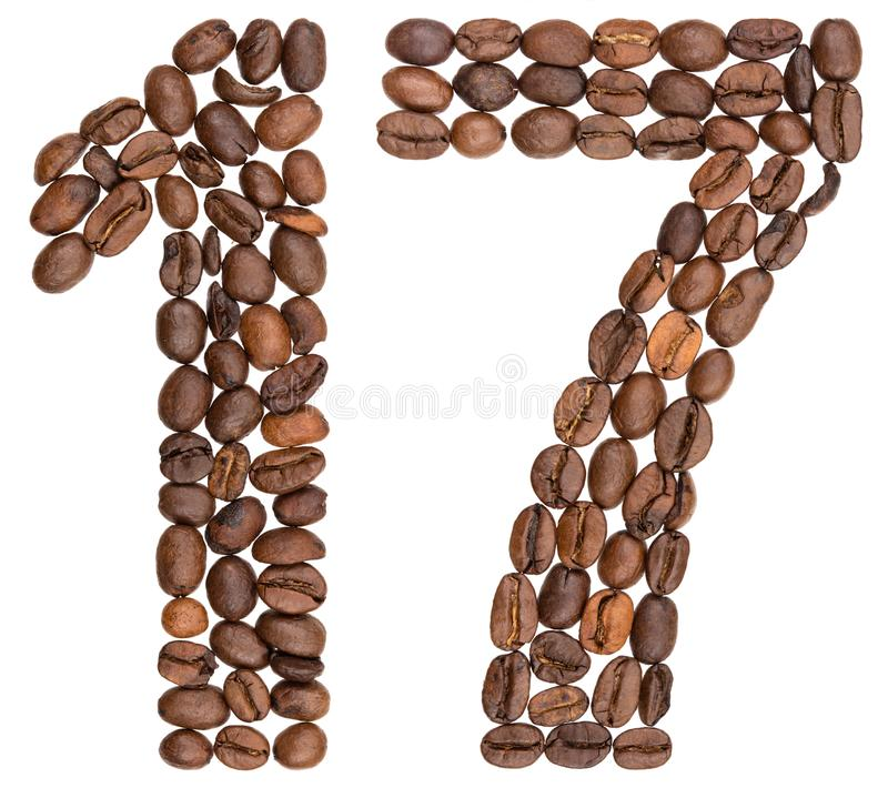 Arabski liczebnik 17, siedemnaście, od kawowych fasoli, odizolowywać na whi obraz royalty free