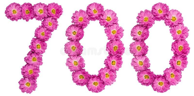 Arabski liczebnik 700, siedemset, od kwiatów chryzantema zdjęcie royalty free