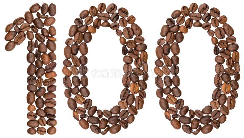 Arabski liczebnik 100, sto, od kawowych fasoli, odizolowywać dalej zdjęcia stock