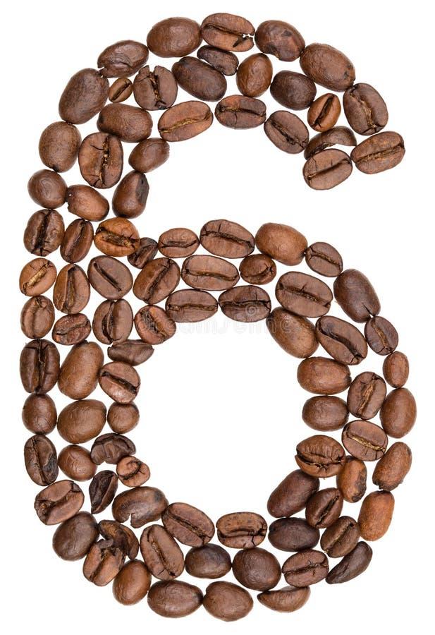 Arabski liczebnik 6, sześć, od kawowych fasoli, odizolowywać na bielu plecy fotografia royalty free