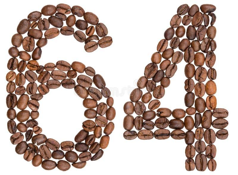 Arabski liczebnik 64, sześćdziesiąt cztery, od kawowych fasoli, odizolowywać na wh zdjęcia royalty free