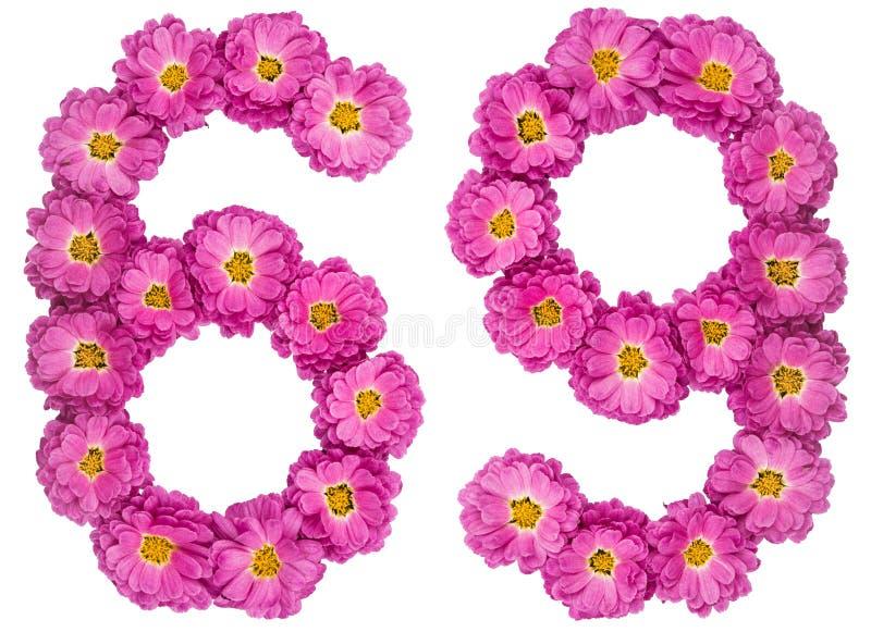 Arabski liczebnik 69, sześćdziesiąt dziewięć, od kwiatów chryzantema, jest obrazy stock