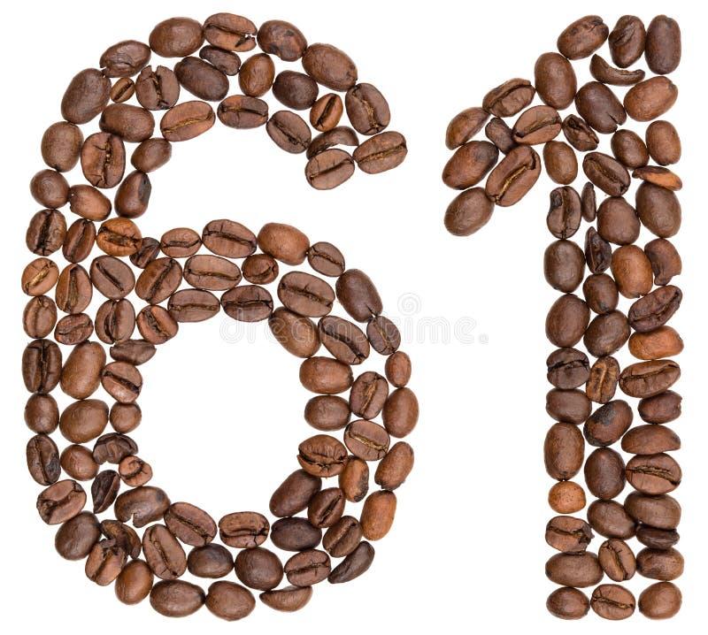Arabski liczebnik 61, sześćdziesiąt jeden, od kawowych fasoli, odizolowywać na whi obrazy stock