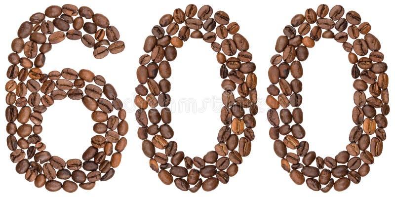 Arabski liczebnik 600, sześćset, od kawowych fasoli, odizolowywać dalej obraz stock