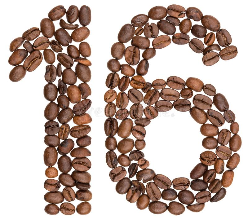 Arabski liczebnik 16, szesnaście, od kawowych fasoli, odizolowywać na bielu zdjęcie stock