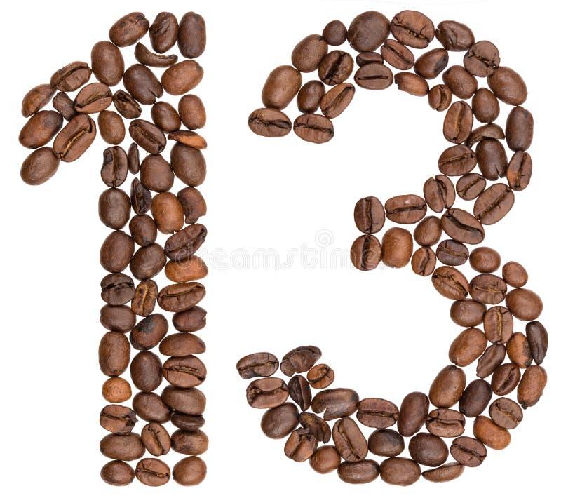 Arabski liczebnik 13, trzynaście, od kawowych fasoli, odizolowywać na whit obraz stock