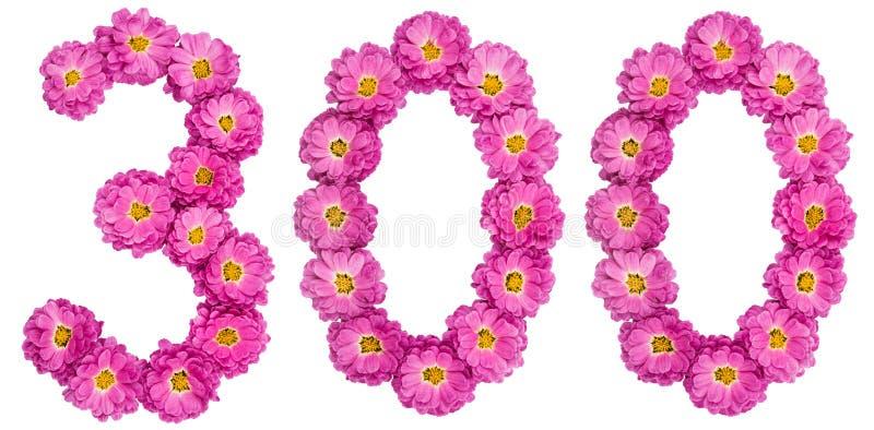 Arabski liczebnik 300, trzysta, od kwiatów chryzantema zdjęcia stock