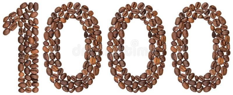 Arabski liczebnik 1000, tysiąc, od kawowych fasoli, odizolowywał o zdjęcie royalty free
