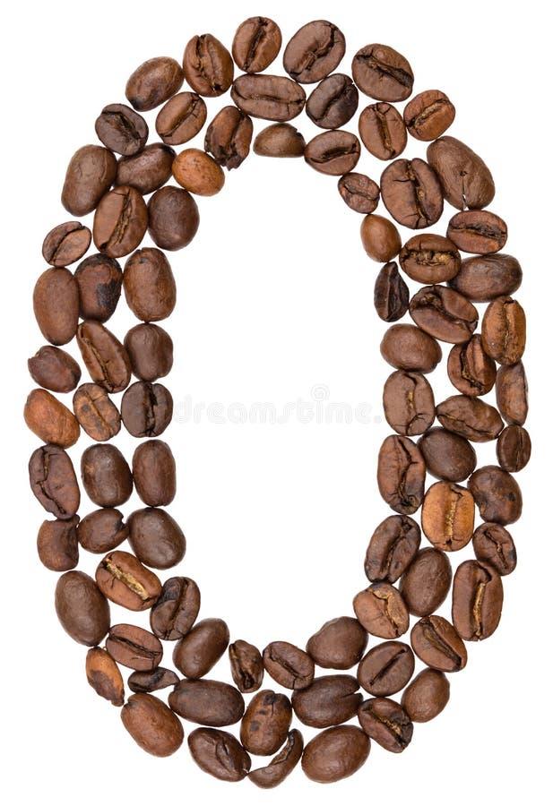 Arabski liczebnik (0), zero, od kawowych fasoli, odizolowywać na białym bac zdjęcie stock
