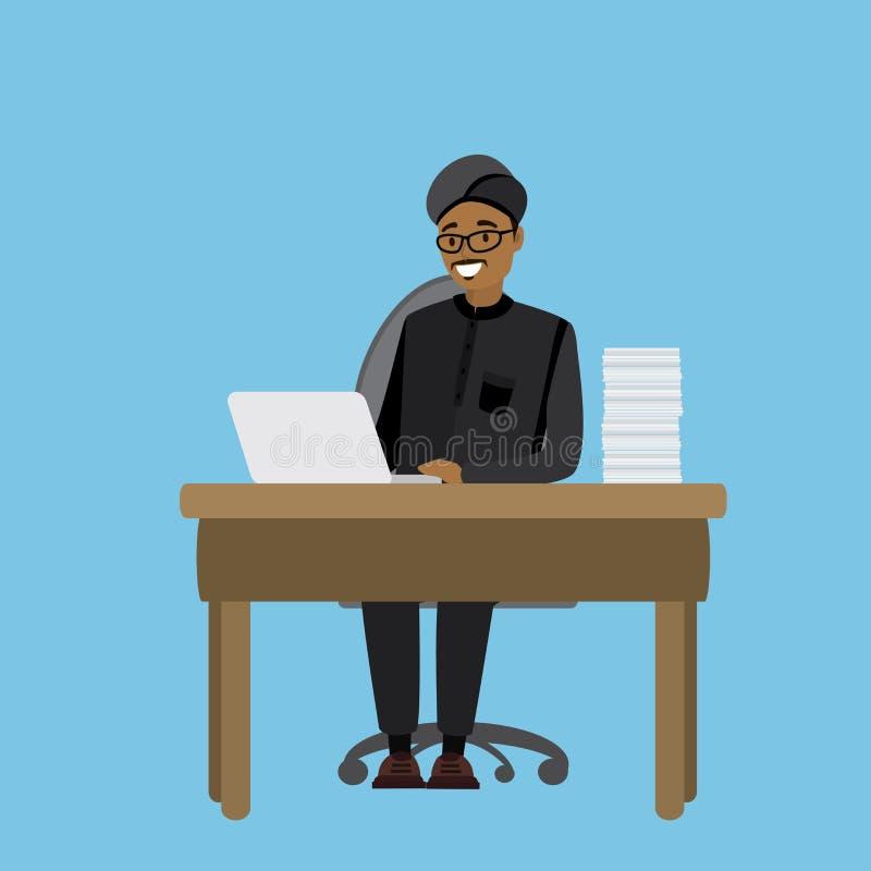 Arabski lub indyjski biznesmen pracuje przy laptopem ilustracji