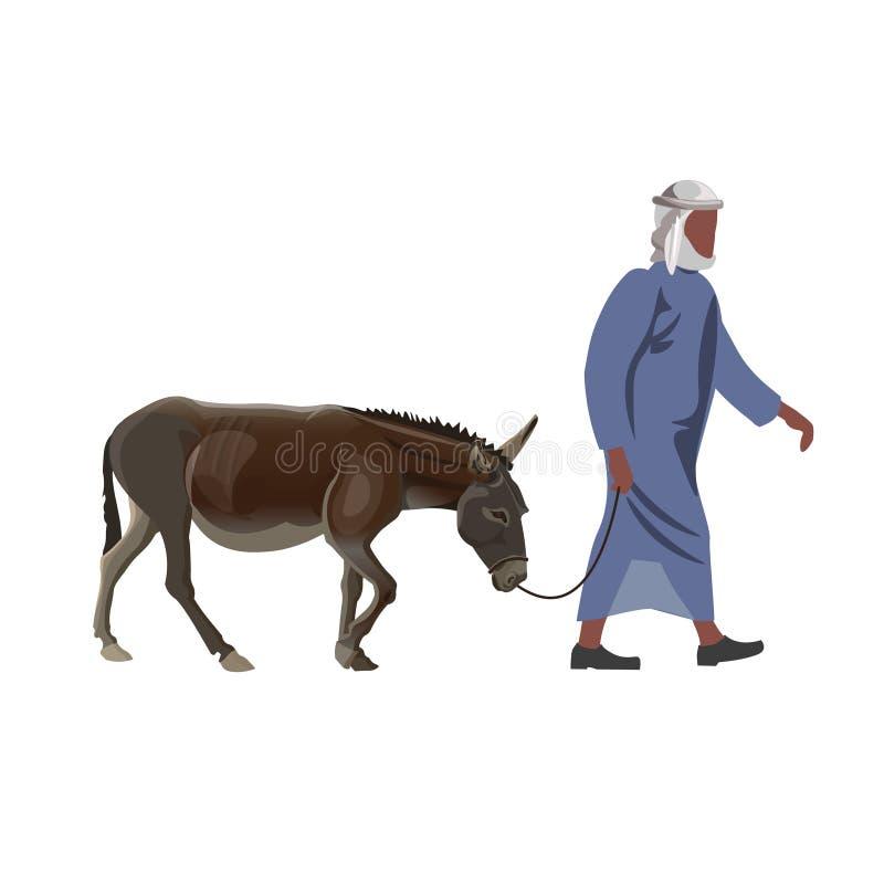 Arabski mężczyzna z osłem royalty ilustracja