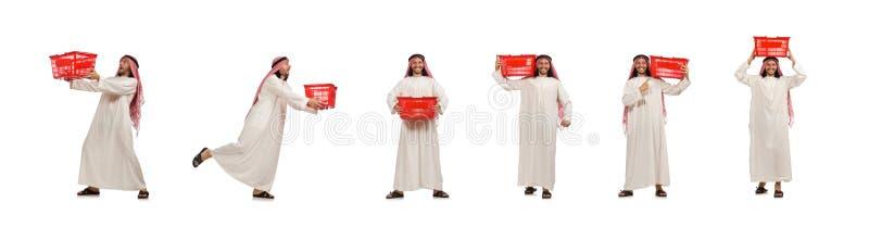 Arabski m??czyzna robi zakupy odizolowywaj?cemu na bielu fotografia royalty free
