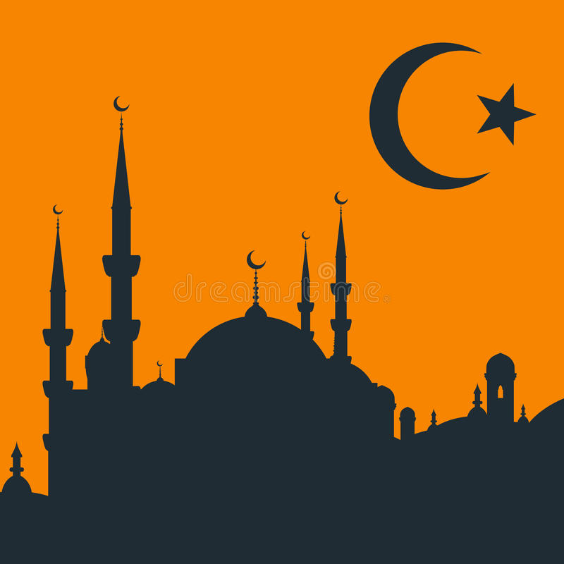 Arabski miasto z meczetem ilustracja wektor