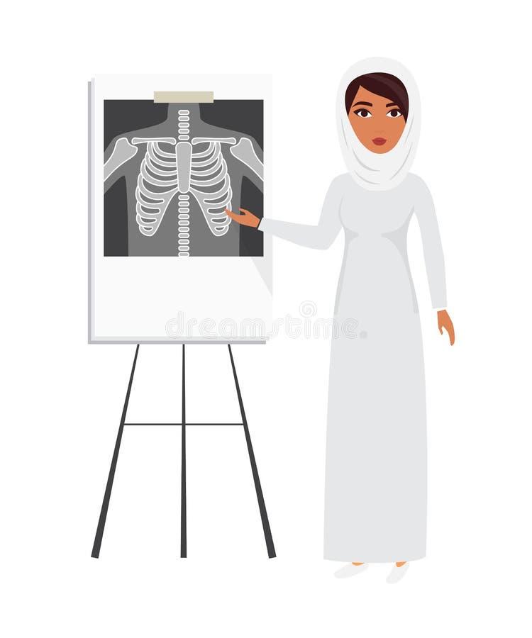 Arabski muzułmański doktorski jest ubranym przesłony hijab z promieniowanie rentgenowskie filmem ilustracja wektor
