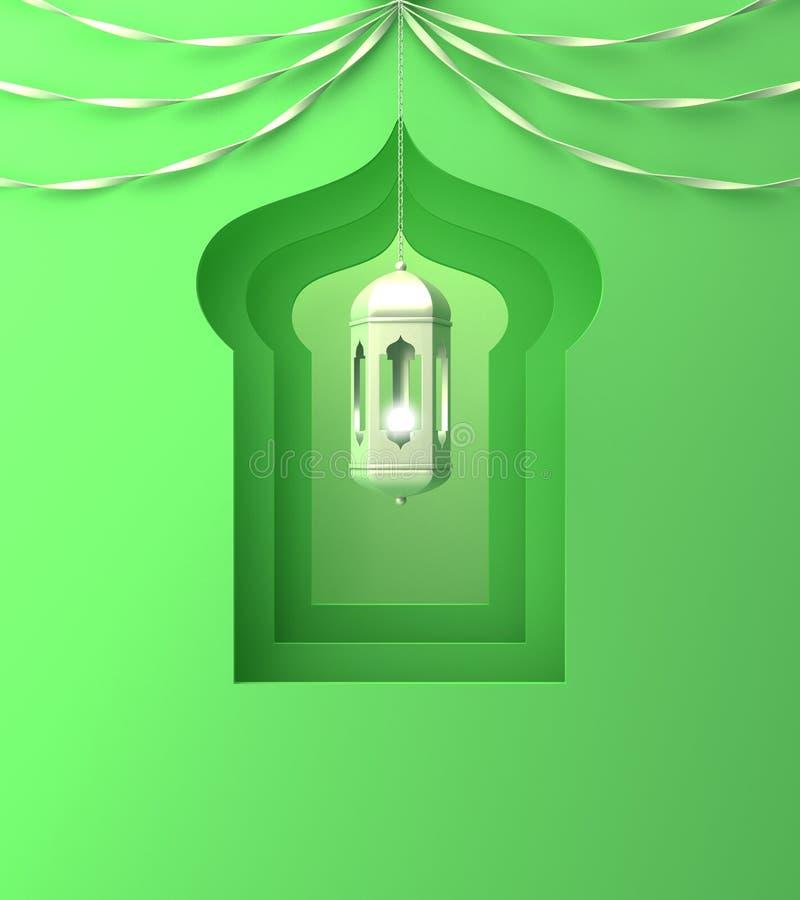 Arabski okno, wisz?ca lampa i faborek na zielonym pastelowym tle, ilustracji