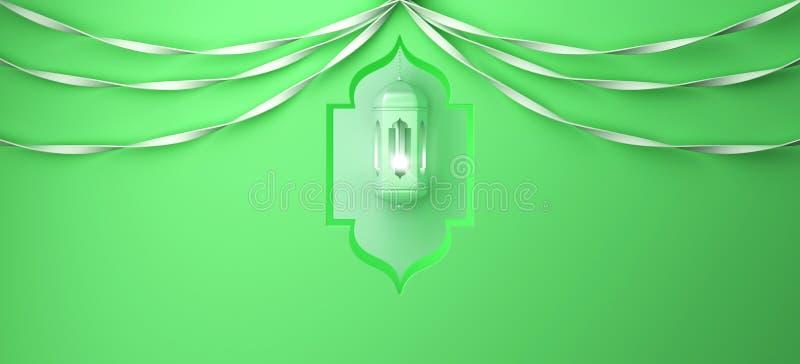 Arabski okno, wisz?ca lampa i faborek na zielonym pastelowym tle, ilustracja wektor