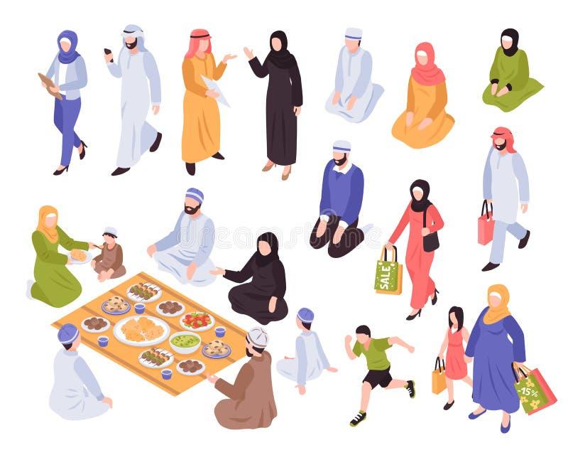 Arabski rodzina set ilustracji