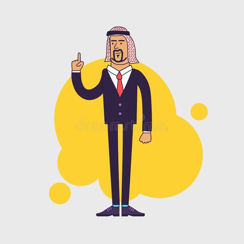 Arabski saudyjski szczęśliwy biznesmen pokazuje jego forefinger ilustracja wektor