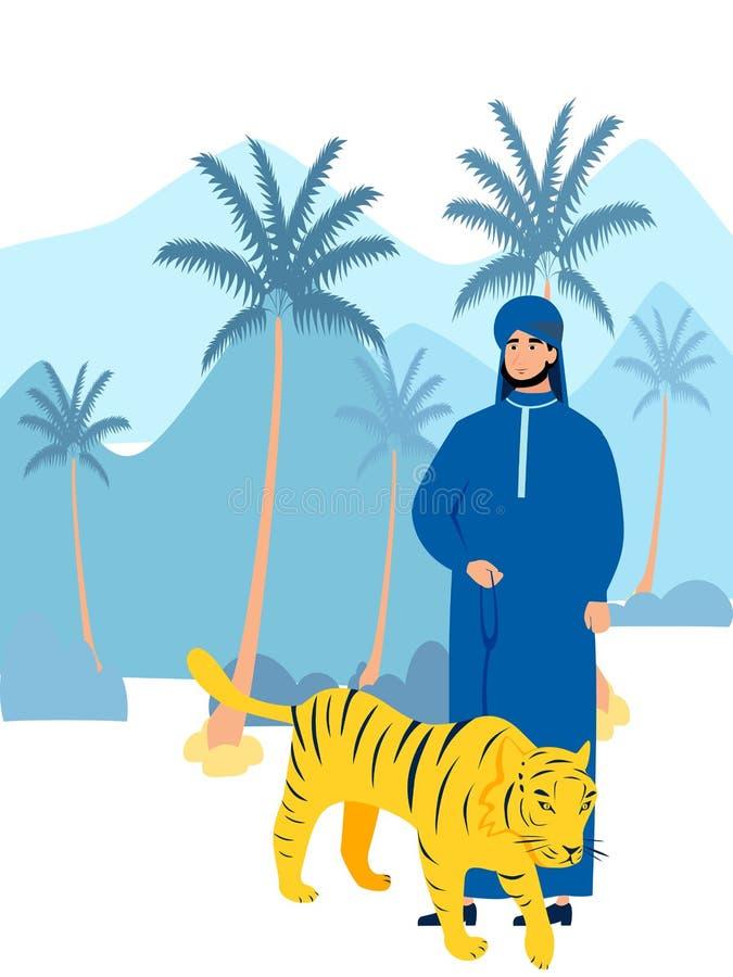 Arabski sheikh z zwierzę domowe tygrysem W minimalisty stylu kresk?wki mieszkania wektorze royalty ilustracja