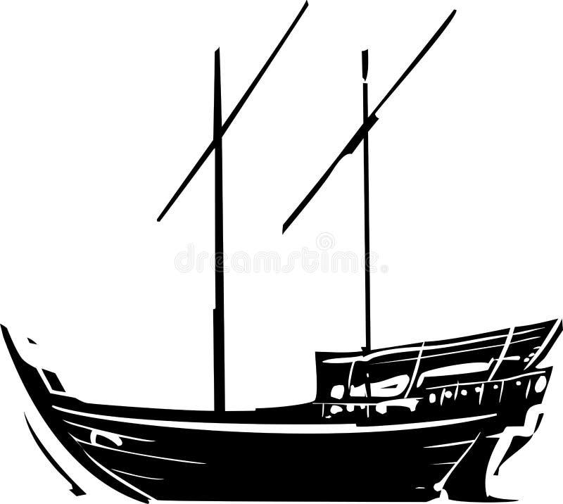 Arabski statku Dhow przy morzem ilustracji