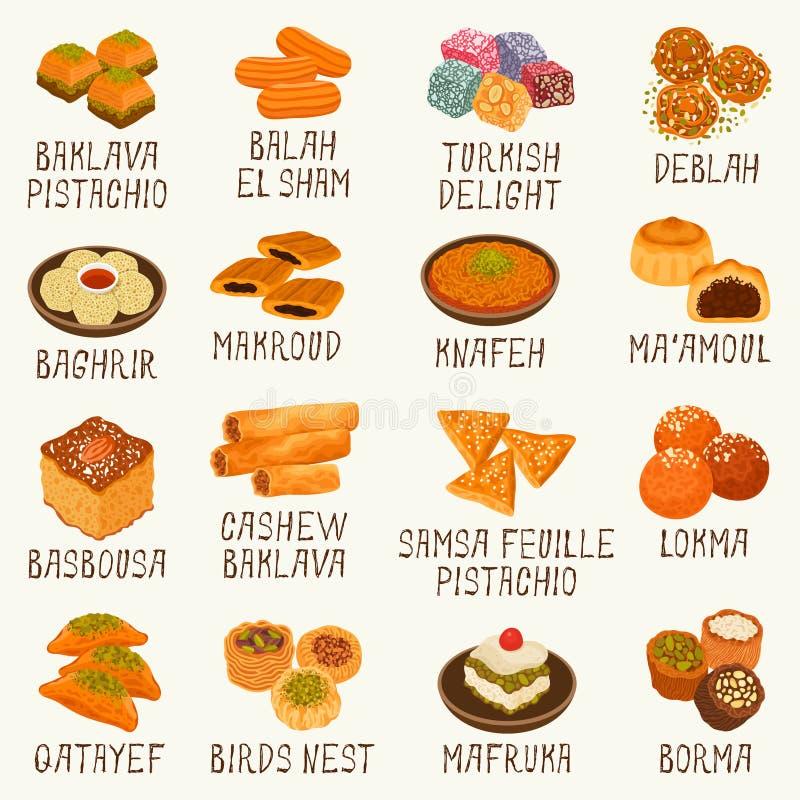 Arabskich cukierków ilustracji wektorowy set royalty ilustracja