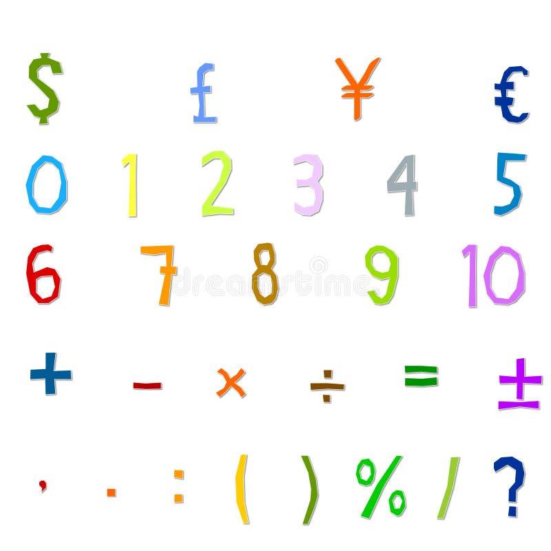 Arabskich liczb, arytmetyki operacje, i waluta symbole zdjęcie royalty free