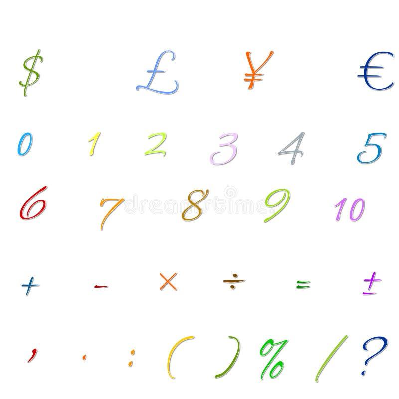 Arabskich liczb, arytmetyki operacje, i waluta symbole obraz royalty free