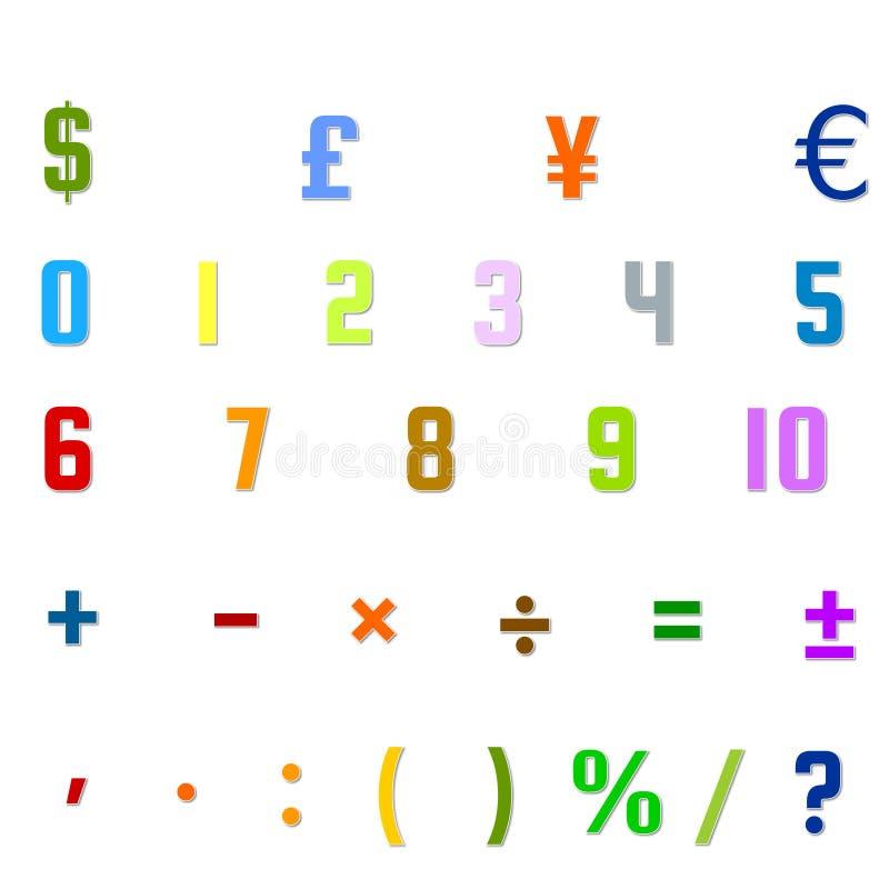 Arabskich liczb, arytmetyki operacje, i waluta symbole fotografia stock