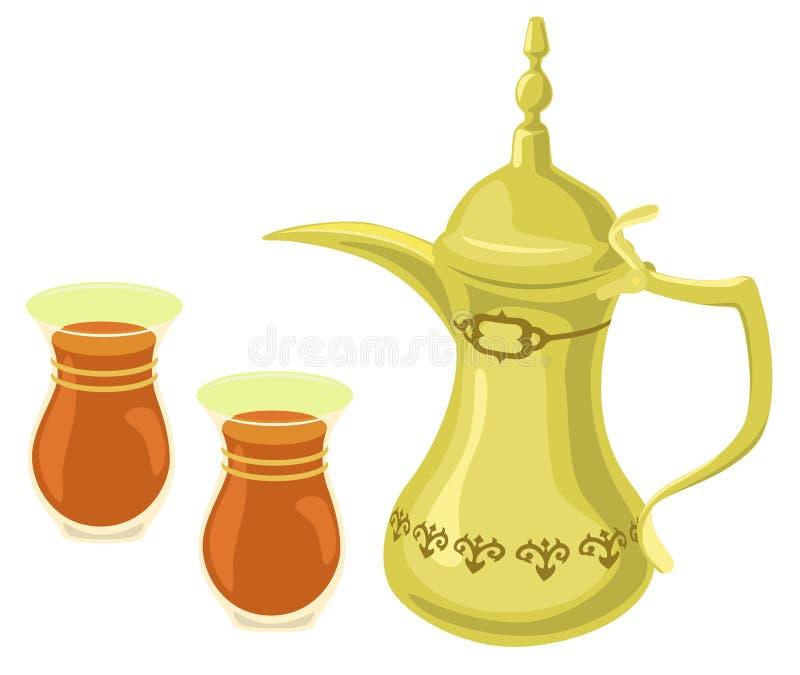 arabskich szkieł złoty herbaciany teapot ilustracja wektor