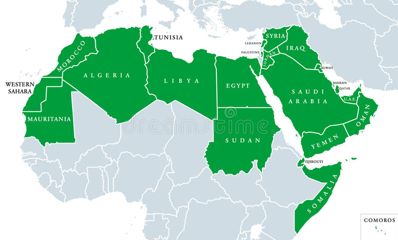 Arabskiego światu polityczna mapa royalty ilustracja
