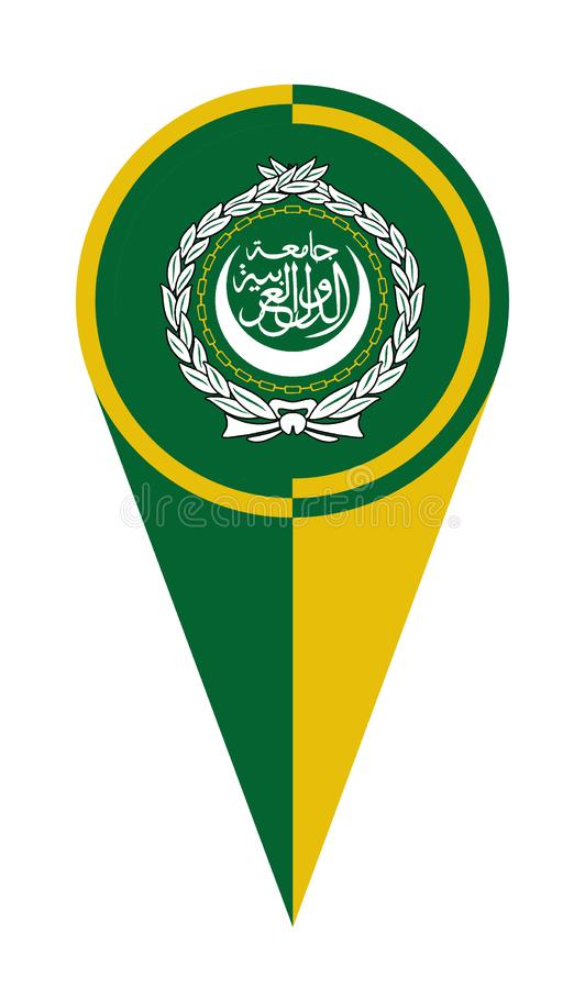 Arabskiego ligi mapy pointeru lokacji flaga royalty ilustracja