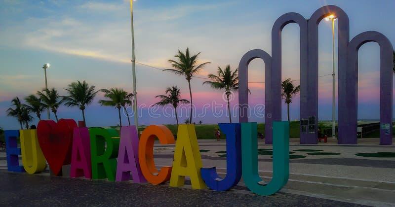 Aracaju/Brazil - Apr.13.19: city sign at dusk. Aracaju/Brazil: touristic city sign, at dusk stock photos